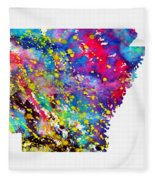 Map Of Arkansas-colorful Fleece Blanket