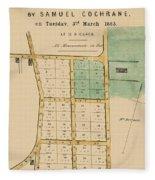 Map Of Auckland 1863b Fleece Blanket