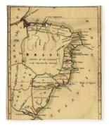 Map Of Brazil 1808 Fleece Blanket