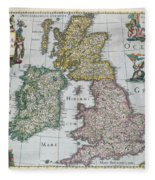 Map Of Britain Fleece Blanket