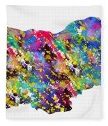 Map Of Bulgaria-colorful Fleece Blanket