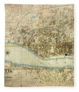 Map Of Calcutta 1857 Fleece Blanket