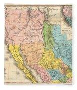 Map Of California New Mexico Texas  1849 Fleece Blanket