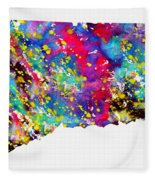 Map Of Connecticut-colorful Fleece Blanket