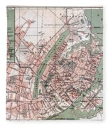 Map Of Copenhagen 1888 Fleece Blanket