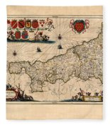 Map Of Cornwall 1646 Fleece Blanket