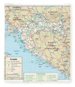 Map Of Croatia Fleece Blanket