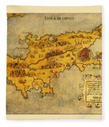 Map Of Cyprus 1562 Fleece Blanket