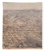 Map Of Dallas 1872 Fleece Blanket