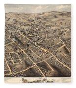 Map Of Danbury 1875 Fleece Blanket