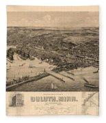 Map Of Duluth 1893 Fleece Blanket