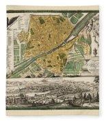 Map Of Florence 1731 Fleece Blanket