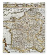Map Of France, 1627 Fleece Blanket