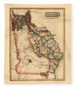 Map Of Georgia 1817 Fleece Blanket