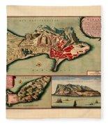 Map Of Gibraltar 1706 Fleece Blanket