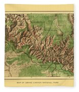 Map Of Grand Canyon 1926 Fleece Blanket
