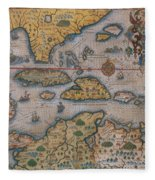 Map Of Gulf Of Mexico And C Fleece Blanket