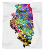 Map Of Illinois-colorful Fleece Blanket