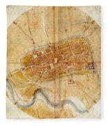 Map Of Imola 1502 Fleece Blanket