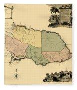 Map Of Jamaica 1763 Fleece Blanket