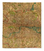 Map Of London England United Kingdom Vintage Street Map Schematic Circa 1899 On Old Worn Parchment  Fleece Blanket
