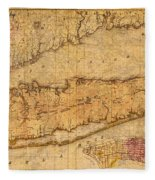 Map Of Long Island New York State In 1842 On Worn Distressed Canvas  Fleece Blanket