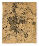 Map Of Madrid Spain Vintage Street Map Schematic Circa 1943 On Old Worn Parchment  Fleece Blanket