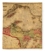 Map Of Michigan Upper Peninsula And Lake Superior Vintage Circa 1873 On Worn Distressed Canvas  Fleece Blanket