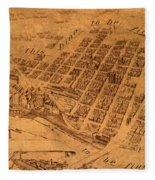 Map Of Minneapolis Minnesota Vintage Birds Eye View Aerial Schematic On Old Distressed Canvas Fleece Blanket