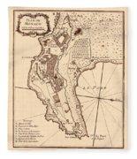 Map Of Monaco 1764 Fleece Blanket