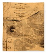 Map Of Nashville 1860 Fleece Blanket