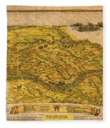 Map Of Nebraska 1954 Omaha Cornhusker State Aerial View Illustration Cartography On Worn Canvas Fleece Blanket