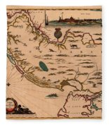 Map Of New Jersey 1672 Fleece Blanket