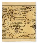 Map Of Newfoundland 1625 Fleece Blanket