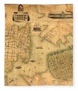 Map Of Norfolk 1851 Fleece Blanket