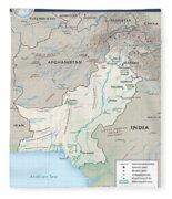 Map Of Pakistan2  Fleece Blanket
