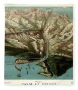 Map Of Panama Canal 1881 Fleece Blanket