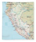 Map Of Peru 2 Fleece Blanket