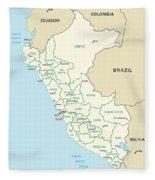 Map Of Peru Fleece Blanket