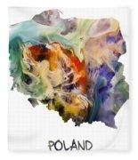 Map Of Poland Original Art Fleece Blanket