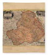 Map Of Rheims 1636 Fleece Blanket