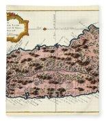 Map Of Saint Lucia 1758 Fleece Blanket