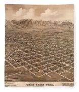 Map Of Salt Lake City 1875 Fleece Blanket