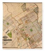 Map Of San Jose 1886 Fleece Blanket