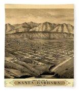 Map Of Santa Barbara 1877 Fleece Blanket