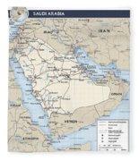 Map Of Saudi Arabia 2 Fleece Blanket