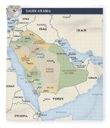 Map Of Saudi Arabia Fleece Blanket