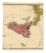 Map Of Sicily 1875 Fleece Blanket