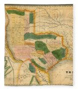 Map Of Texas 1834 Fleece Blanket
