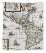 Map Of The Americas Fleece Blanket